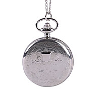 Unisex Pocket Watch Classical Fine Pattern Embossed Silver Flip Shiying Huai Table