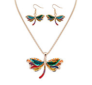 Women European Style Fashion Colorful Naughty Dragonfly Necklace Earring Set