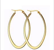 Hoop Earrings Titanium Steel 18K gold Fashion Oval Golden Jewelry Party Daily Casual 1 pair