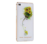 Metal Frame Protective Shell Hard  Painting for HUAWEI P8 (Golden Box+  Little  Yellow  FLOWER)