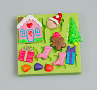 Cake Tools Christmas Tree Gift House Fondant Silicone Mold for Cake Decorating Cupcake Candy Chocolate Clay Fimo Resin