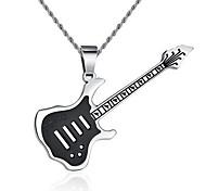 Men's Fashion Black Guitar Titanium Pendant for Necklace