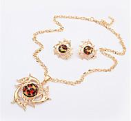 Women European Style Fashion Hot Wheels Leopard Necklace Earring Sets