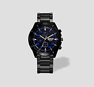Men Round Quartz Watch Dial Three Time Zones Fashion Movement Wrist Watch Cool Watch Unique Watch