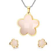 Women's Cute Flower Style Gold Necklace Earrings Jewelry Set