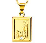 Women Romantic Rectangular Pendant High Quality 18K Gold Plated Fashion Vintage Jewelry Gift Necklaces Pendants P30090