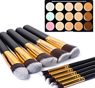 10pcs Gold Tube Black Handle Cosmetic Makeup Brush Set and 15 Colors Concealer