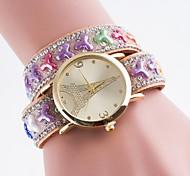 Mujer Reloj de Moda Simulado Diamante Reloj Cuarzo Reloj Casual PU Banda Múltiples Colores Rojo Azul Rosa Marrón Claro Verde claro