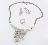 Women European Style Fashion Elegant Cute Imitation Pearl Necklace Earring Ring Sets
