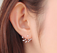 Leaf Shape Rhinestone Stud Earrings