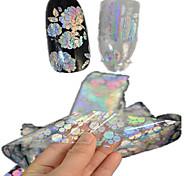 1шт 100 * 4cm прозрачно лазерные наклейки ногтей блеск поделки красивый цветок геометрический образ ногтей красоты lt05-08