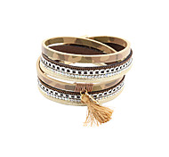Fashion Women 3 Rows Stone Set Printed Leather Wrap Bracelet