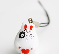Cute rabbit ceramic mobile phone chain