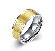 lureme® Vintage Unisex Stainless Steel Ring with Golden Plated Words in Middle
