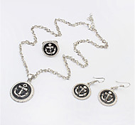 Women European Style Fashion Cute Anchor Necklace Earrings Ring Set