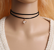 Necklace Choker Necklaces Jewelry Halloween / Party / Daily / Casual Double-layer / Fashion Alloy Black / White 1pc Gift
