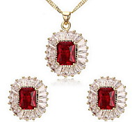 Women's Oval Cubic Zirconia Necklace Earrings Jewelry Set