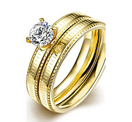 New Fashion Individual White Zircon Gold-Plated Titanium Steel Statement Rings(Golden)(1Set)
