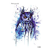 HD Large Taty Halloween Easter Blue Owl Water Transfer Body Art Temporary Tattoo Stickers Flash Big Tatoos tatouage