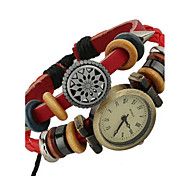 Women's Alloy Leather Handcrafted Vintage Bracelet Table Wrist Watch