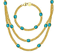 New Trendy 18K Gold Plated Natural turquoise Chunky Link Chain Necklaces&bracelet Jewelry Gift For Women/ Men NB60056