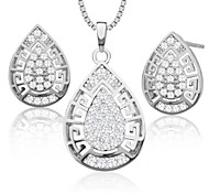 Trendy Hollow out zircon Pendant Necklace Earrings Set 18K Gold Plated womans Jewelry Sets birthday Gift S20089