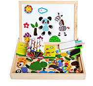 The New Magnetic Dpell Dpell Joy, Vhildren's Eooden Jigsaw Puzzle, Baby Educational Learning Toys-The Forest Animals