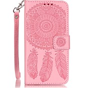 Campanula Color Double-sided Embossed Card Holder Lanyard PU Leather Phone Case for LG K7