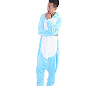 Kigurumi Pijamas Hipopótamo Malha Collant/Pijama Macacão Festival/Celebração Pijamas Animal Azul Miscelânea Velocino de Coral Kigurumi