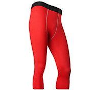 Running 3/4 Tights Men's Breathable / Quick Dry Running Sports White / Green / Red / Gray / Black / Blue