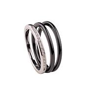 Ringe,Eheringe,Schmuck Sterling Silber Modisch Hochzeit / Party / Alltag / Normal Schwarz / Silber / Weiß 1 Set,6 / 7 / 8 Unsex