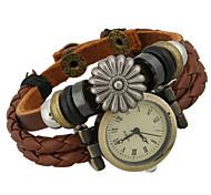 Mulheres Relógio de Moda Digital Couro Banda Marrom marca-