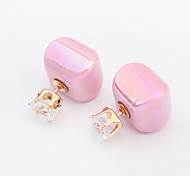 Earring Stud Earrings Jewelry Women Fashion Party / Daily / Casual 1 pair White / Yellow / Green / Purple / Pink
