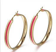 Hoop Earrings Titanium Steel Fashion Circle Pink Jewelry Party Daily Casual 1 pair