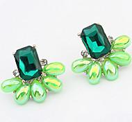 European And American Fashion Extravagance Gemstone Flower Earrings