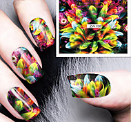 Fashion Printing Pattern Water Transfer Printing Colours Fireworks Nail Stickers