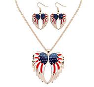 Women European Style Fashion Angel Wings Flag Necklace Earring Set