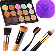 1PCS 15 Colors Camouflage Natural Contour Face Cream/Facial Concealer Makeup Palette+1 Contour Brush+1 Brush Pad
