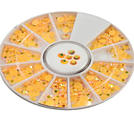 1pcs 4mm Round Bowl Nail Art Orange Yellow Flat Rhinestones Nail Art DIY Decoration NC307