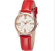 Женские Модные часы Кварцевый Японский кварц Защита от влаги Повседневные часы Кожа Группа Черный Красный марка SYNOKE