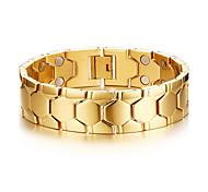 terapia pulseira de saúde magnético jóias homens pulseira de titânio de aço de prata