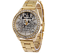 Men's Personality Tide Skull Steel Quartz Watch with Diamonds