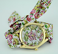 Women's European Style Fashion New Fabric Floral Flower Bracelet Watch Fashion Watch