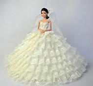 Hochzeit Kleider Für Barbie-Puppe Beige Kleider