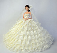 Boda Vestidos por Muñeca Barbie Beige Vestidos