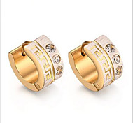 Earring Circle Jewelry Women Fashion Party / Daily / Casual Titanium Steel 1 pair Yellow Gold