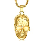 Men's Fashion Punk Style Gold Plated Skull Pendant for Necklace