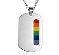 Unisex Fashion Rainbow Dog Tag Titanium Pendant for Necklace