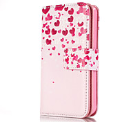 PU Leather Embossed Love Heart Wallet Case with 9 Card Slots for iPhone SE/5S/5