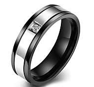 lureme® Unisex Black Stainless Steel with  Silver Tone in Middle and Crystal Ring